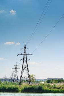 Paisagem industrial, linhas de energia