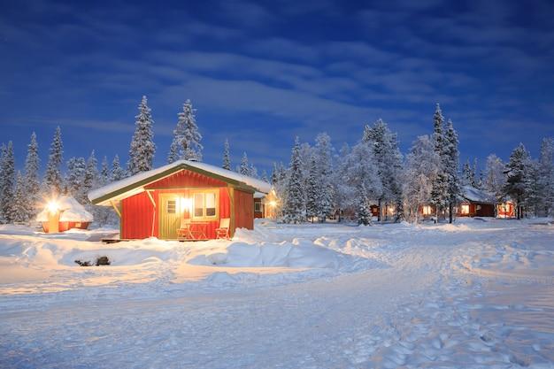 Paisagem inverno, em, noturna, lapland, suécia