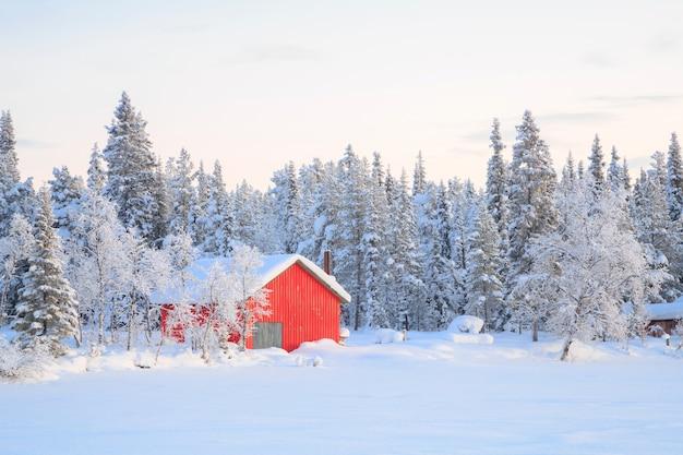 Paisagem inverno, kiruna, suécia