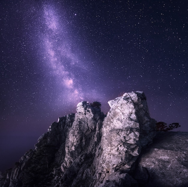 Paisagem linda noite com pedras e céu estrelado