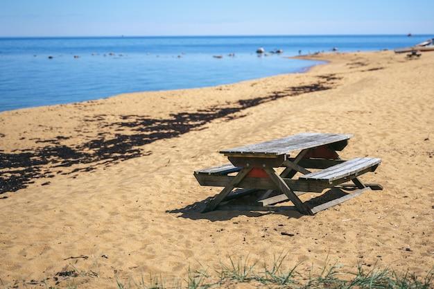Paisagem litoral da charneca com horizonte do mar báltico em havang perto de simrishamn, suécia.