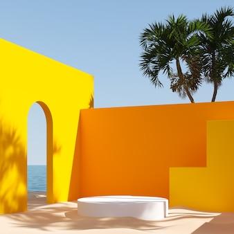 Paisagem mínima fundo da cena com pedestal branco, plataforma de exibição do pódio, renderização em 3d.