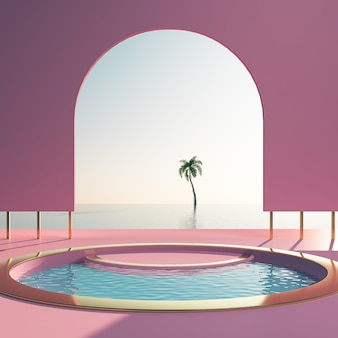 Paisagem mínima, fundo de cena de praia de verão, renderização 3d a pastel de forma geométrica.