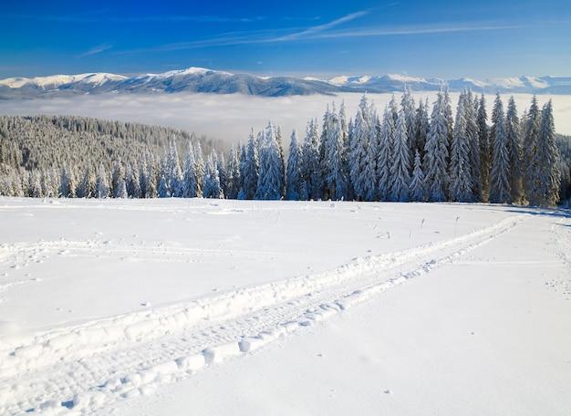 Paisagem montanhosa calma no inverno (vista da estação de esqui bukovel (ucrânia) até o cume svydovets)