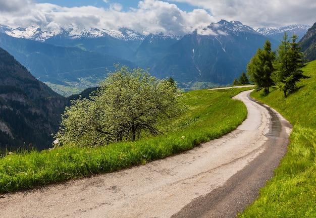 Paisagem montanhosa de alpes de verão com estrada rural e flores silvestres na encosta de pastagem, suíça.