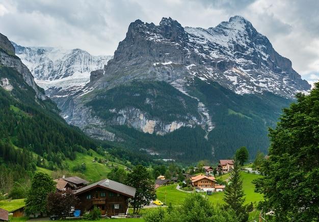 Paisagem montanhosa de alpes de verão com floresta de abetos em encosta e topos rochosos cobertos de neve em longe, na suíça. vista do país.