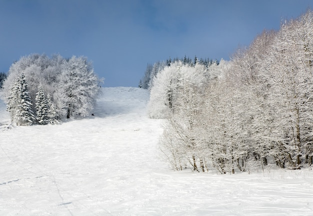 Paisagem montanhosa de inverno com abetos cobertos de geada e neve e pista de esqui