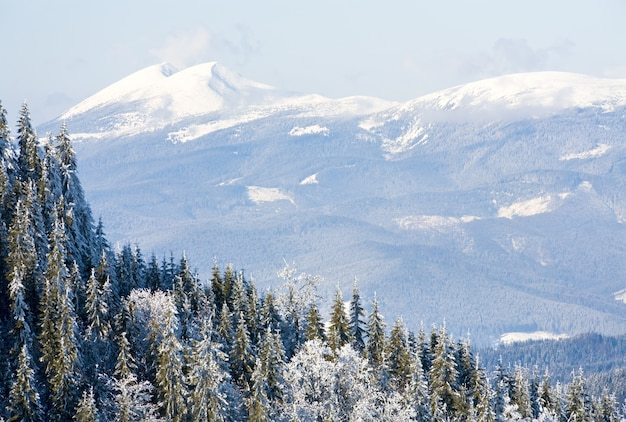 Paisagem montanhosa de inverno (vista da estação de esqui bukovel (ucrânia) para o monte syvulja)