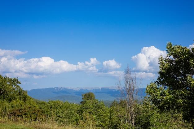 Paisagem montanhosa em um dia ensolarado com céu azul e floresta decídua verde com nuvens brancas e fofas contra um pano de fundo de montanhas nebulosas