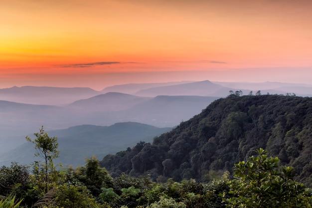 Paisagem mountain view árvore do nascer do sol com o céu. montanha ao nascer do sol da manhã. nevoeiro e árvores verdes o pico do parque nacional phu rua, em loei.
