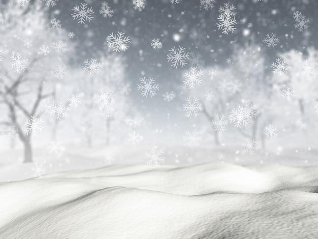 Paisagem nevado 3d