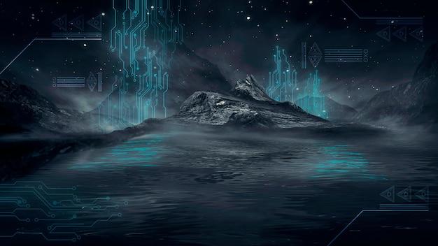 Paisagem noturna de fantasia futurista com reflexo da luz na água. ilustração 3d do portal da galáxia do espaço neon