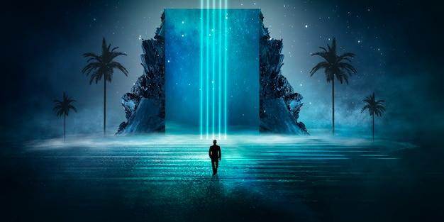 Paisagem noturna de fantasia futurista moderna com ilhas abstratas e céu noturno com galáxias espaciais