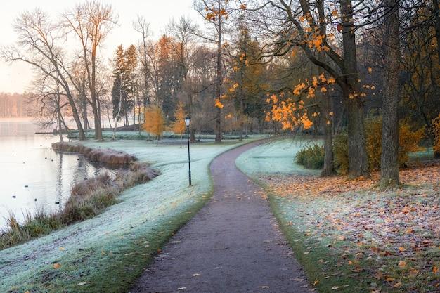 Paisagem nublada de outono de manhã com árvores vermelhas à beira do lago. um caminho sinuoso coberto de geada.