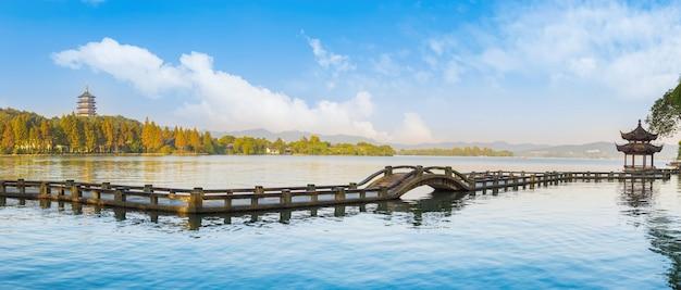 Paisagem panorâmica viajando lagoa china