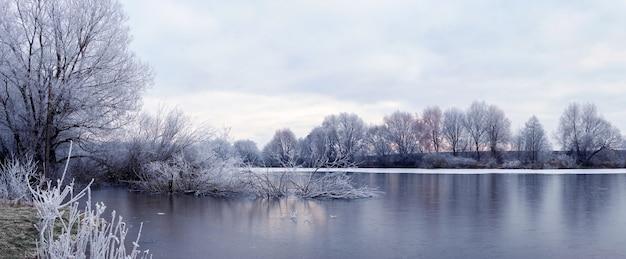 Paisagem pitoresca de inverno com árvores cobertas de neve perto do rio em uma manhã de inverno em tons frios de inverno