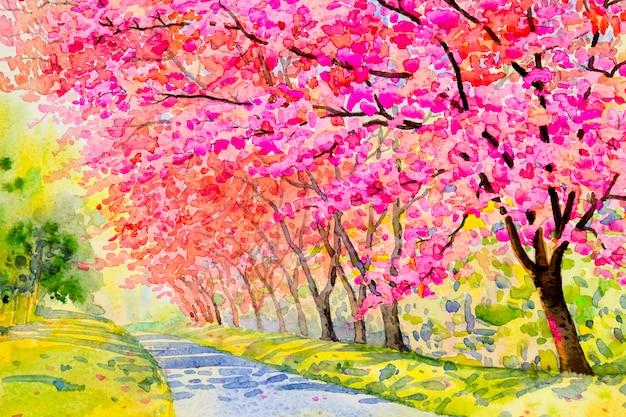 Paisagem puple flor, cor-de-rosa da cereja selvagem do himalaia