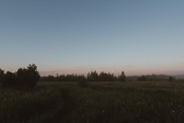 Paisagem rural, campo e nuvens de tempestade escuras. paisagem sombria