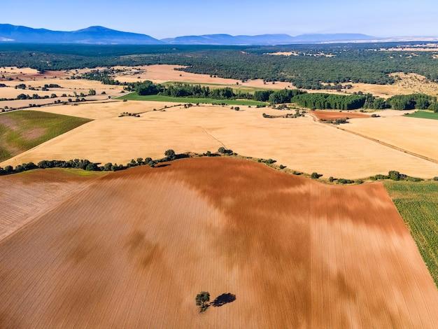 Paisagem rural de campos colhidos e montanhas ao fundo em dia de verão.