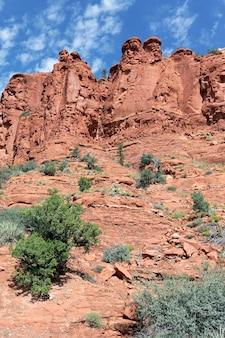 Paisagem selvagem com rochas vermelhas perto de sedona