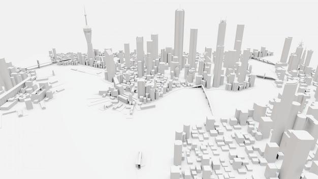 Paisagem tridimensional da cidade moderna. o enorme layout da metrópole. renderização em 3d.