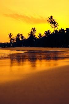 Paisagem tropical da silhueta da palma do sol alaranjada. praia do sri lanka