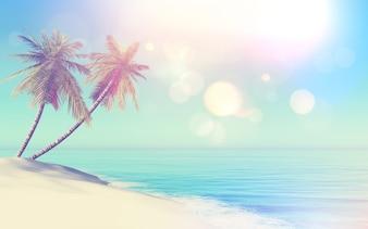 Paisagem tropical de estilo retro 3D com palmeiras
