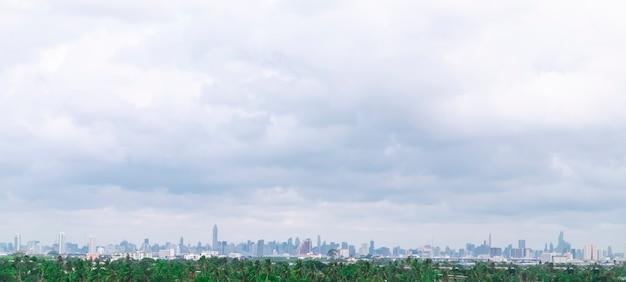 Paisagens panorâmicas com área de floresta verde ou zona tampão e horizonte da cidade moderna.