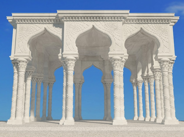 Palácio branco de arcada oriental em estilo árabe