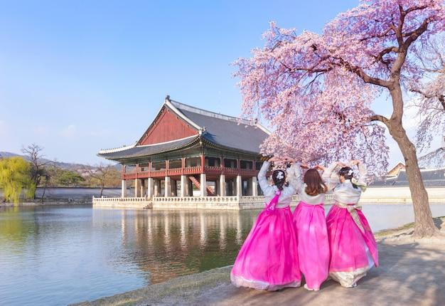 Palácio gyeongbokgung com vestido nacional coreano e flor de cerejeira na primavera, seul, coreia do sul.