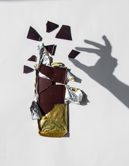 Paladar de chocolate e pedaços na parede branca e marrom