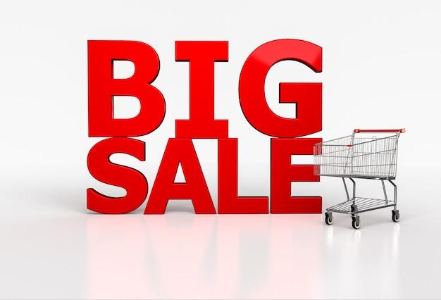 Palavra 3d de grande venda e carrinho de compras realista em branco. 3d render