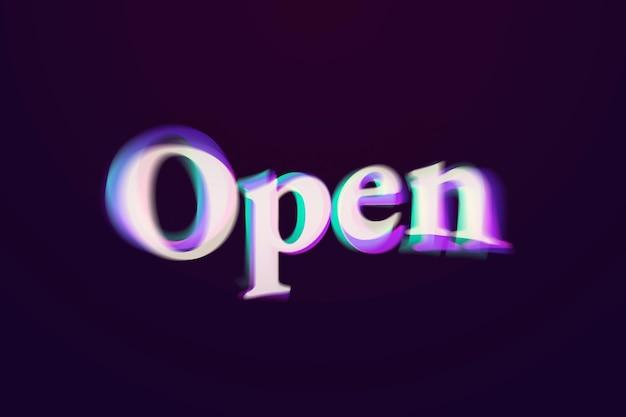 Palavra aberta em tipografia de texto anáglifo