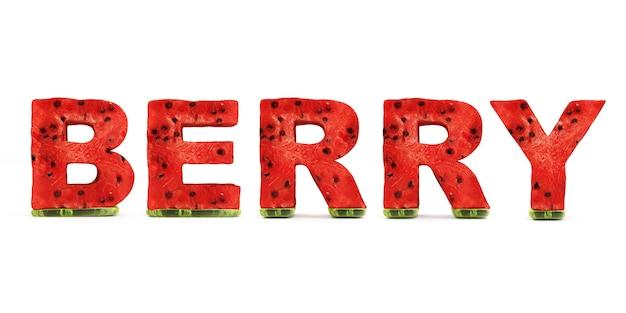 Palavra berry feita de letras de melancia isoladas em fundo branco