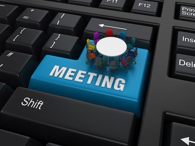 Palavra-chave compyter com chiars e palavra da reunião