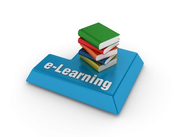 Palavra-chave compyter com livros e palavra de e-learning