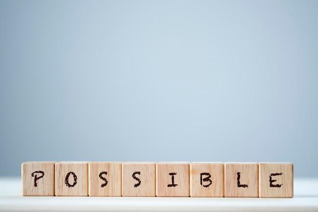Palavra-chave possível no cubo de madeira