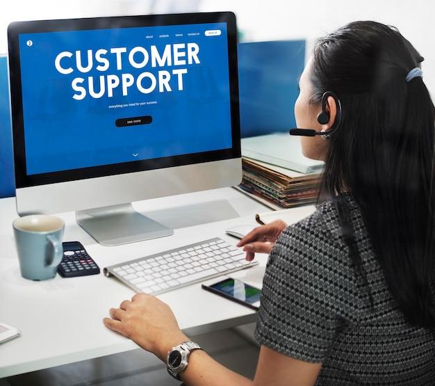 Palavra da interface da página da web de atendimento ao cliente