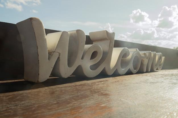 Palavra de boas-vindas de madeira branca