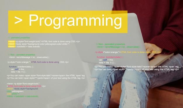 Palavra de codificação de texto de script de programação