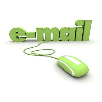 Palavra de e-mail conectada a um mouse