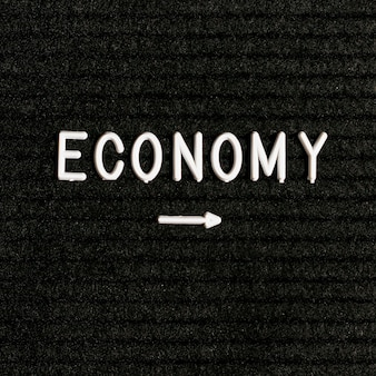 Palavra de economia e seta pontuda