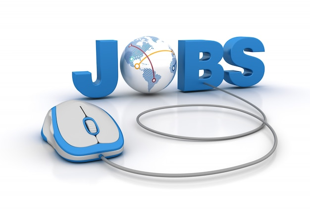 Palavra de emprego com globo mundo e mouse de computador