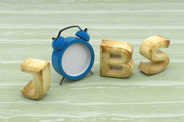 Palavra de empregos com relógio em fundo de madeira. renderização 3d