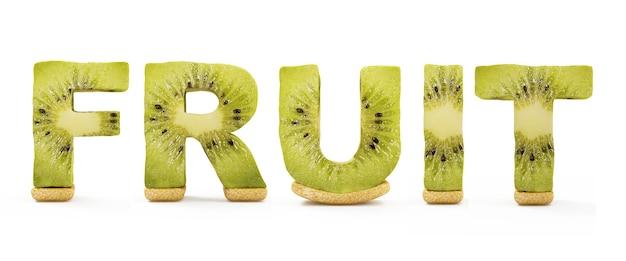 Palavra de fruta feita de letras kiwi isoladas em branco