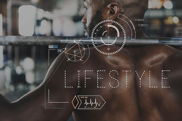 Palavra de gráfico de treino de estilo de vida de saúde de bem-estar