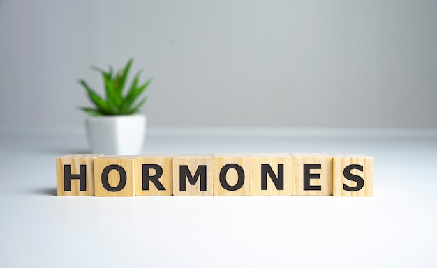 Palavra de hormônios escrita em cubo de madeira