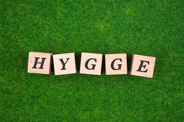 Palavra de hygge no cubo de madeira no fundo da grama