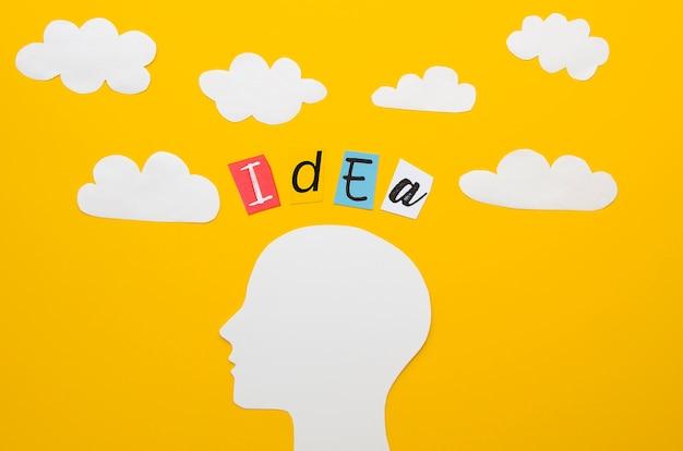 Palavra de idéia com cabeça e nuvens