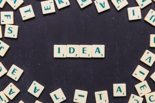 Palavra de idéia organizada com letras scrabble